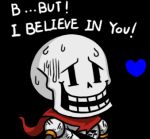 1boy armor battle_damage black_background chibi english grin gyate_gyate heart lowres male_focus papyrus_(undertale) scarf simple_background skeleton smile solo source_quote spoilers sweat undertale upper_body yaruky