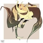1girl bandanna bending_backward blonde_hair breasts commentary_request dark_skin dated detached_sleeves from_behind gravity_daze hairband high_heels highres kitten_(gravity_daze) leg_up legband looking_at_viewer looking_back open_mouth red_eyes sidelocks sketch small_breasts smile solo standing standing_on_one_leg tan_background tocky vambraces