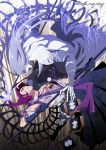 2boys constricted_pupils electricity enemy_yari gloves grey_hair hakama historical_revisionist japanese_clothes long_hair looking_at_another male_focus multiple_boys open_mouth pale_skin panya pom_pom_(clothes) purple_hair scar shirtless skeleton tonbokiri_(touken_ranbu) touken_ranbu twitter_username