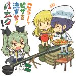 3girls anchovy apron bangs black_hair blonde_hair blouse braid brown_eyes cape carpaccio cheese chef_hat chef_uniform chibi closed_eyes commentary_request drill_hair drum_(container) extended_barrel eyebrows eyebrows_visible_through_hair food food_on_face fork girls_und_panzer goggles goggles_on_hat green_hair hair_ribbon hat helmet highres long_hair multiple_girls necktie otoufu pasta pepperoni_(girls_und_panzer) pizza plate pleated_skirt ribbon sack sacks short_hair skirt stool tapping_foot thigh-highs translation_request twin_drills