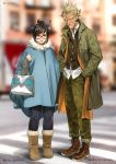 1boy 1girl absurdres alternate_costume artist_name bag blonde_hair blurry boots brown_eyes brown_hair camouflage camouflage_pants casual character_name combat_boots crosswalk depth_of_field dress_shirt eyebrows fashion full_body fur_boots fur_trim glasses grin hair_ornament hair_stick hands_in_pockets highres jacket junkrat_(overwatch) mei_(overwatch) overwatch pants poncho shirt short_hair smile spiky_hair vest watermark widow's_peak yang-do