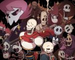 6+boys afro anpanman artist_name ascot berserk black_sclera bow bowtie brook brothers cigarette clenched_hand crossover cup drinking dry_bones duskull formal grim grim_(grim_adventures) grim_fandango grin hand_on_hip hood horrorman jack_skellington lewis_(mystery_skulls) lord_hater male_focus manolo_sanchez manuel_calavera masters_of_the_universe multiple_boys multiple_crossover mystery_skulls one_eye_closed one_piece papyrus_(undertale) pink_hair pokemon pokemon_(creature) pompadour puyopuyo sans scarf siblings skeleton skeleton_t skeletor skull_knight smile smoke smoking sparkle ssalbulre suit super_mario_bros. teacup the_book_of_life the_grim_adventures_of_billy_&_mandy the_nightmare_before_christmas trait_connection tuxedo undertale wander_over_yonder yellow_eyes yunomi