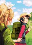 2girls :d ayase_eli backpack bag bangs blonde_hair blue_hair blush bow clouds cloudy_sky commentary_request hair_bow hand_holding hat highres hiking lilylion26 long_hair long_sleeves looking_at_another looking_back love_live! love_live!_school_idol_project multiple_girls nail_polish open_mouth pink_nails ponytail signature sky smile sonoda_umi yellow_eyes