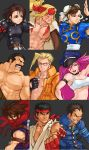 3girls 6+boys 90s ;) abs alex_(street_fighter) armband artist_request asymmetrical_bangs bangs belt biker_clothes blonde_hair blue_eyes bomber_jacket breasts brown_eyes brown_hair capcom capcom_fighting_allstars capcom_fighting_jam charlie_nash china_dress chinese_clothes choker chun-li concept_art covered_mouth dog_tags dougi dress eyebrows facial_hair final_fight gakuran glasses hair_slicked_back hat headband highres ichimonji_batsu jacket kazama_akira kita_senri leather leather_jacket lipstick long_hair makeup medium_breasts mike_haggar multiple_boys multiple_girls muscle mustache ninja official_art one_eye_closed open_clothes open_vest peaked_cap pink_hair poison_(final_fight) portrait puffy_short_sleeves puffy_sleeves rival_schools ryuu_(street_fighter) scar scarf school_uniform shirtless short_hair short_sleeves single_strap small_breasts smile spikes street_fighter street_fighter_iii street_fighter_iii_(series) street_fighter_zero street_fighter_zero_(series) strider_(video_game) strider_hiryuu thick_eyebrows vest watermark