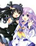 2girls :d ;d absurdres armpits black_hair blush breasts choker choujigen_game_neptune choujigen_game_neptune_mk2 d-pad elbow_gloves gloves hair_ornament highres kami_jigen_game_neptune_v long_hair looking_at_viewer multiple_girls nepgear neptune_(series) official_art one_eye_closed open_mouth purple_hair red_eyes shin_jigen_game_neptune_vii sideboob small_breasts smile thigh-highs tsunako twintails uni_(choujigen_game_neptune) violet_eyes waving