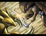 battle claws kabutops kurii_chasuke no_humans pokemon sandslash
