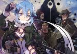 1girl 5boys abec behemoth_(sao) black_gloves black_hair blue_eyes blue_hair breasts character_request cleavage dyne_(sao) facial_hair fingerless_gloves glasses gloves green_jacket gun hair_ornament hairclip hat highres holding holding_gun holding_weapon jacket looking_at_viewer multiple_boys mustache open_clothes open_jacket orange_hair pale_rider_(sao) ponytail riffle scar scarf shinon_(sao) short_hair silver_hair smile sword_art_online weapon white_scarf yamikaze_(sao)