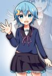 1girl air_(alanais) alternate_costume alternate_hairstyle blue_eyes blue_hair highres kantai_collection minazuki_(kantai_collection) school_uniform serafuku short_hair skirt waving zoom_layer
