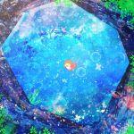 1girl abstract from_above gake_no_ue_no_ponyo harada_miyuki looking_up orange_hair outdoors plants ponyo solo studio_ghibli swimming water