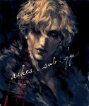 1boy androgynous as_(ashes) blonde_hair blue_eyes closed_mouth eyelashes feather_boa hair_over_one_eye male_focus original solo web_address