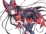 1girl absurdres animal_ears bent_over black_hair cat_ears detached_sleeves dress eudetenis fake_animal_ears flat_chest floating_hair gate_-_jieitai_ka_no_chi_nite_kaku_tatakaeri hair_ribbon highres long_hair looking_at_viewer red_eyes red_ribbon ribbon rory_mercury short_sleeves signature simple_background solo thigh-highs thigh_strap very_long_hair white_background