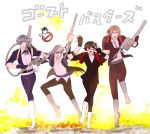 4boys arisato_minato black_hair blue_eyes blue_hair brown_hair fingerless_gloves ghostbusters glasses gloves iriya_(lonesome) kneehighs kurusu_akira multiple_boys narukami_yuu necktie parody persona persona_1 persona_2 persona_3 persona_4 persona_5 protagonist_(persona_5) ribbon school_uniform short_hair suou_tatsuya toudou_naoya yuuki_makoto