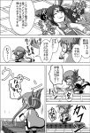 3girls :d bandage chibi closed_eyes coat comic commentary_request conveyor_belt eyebrows eyebrows_visible_through_hair fang folded_ponytail greyscale hair_ornament hairclip hallucination halo hood hoodie ikazuchi_(kantai_collection) inazuma_(kantai_collection) kantai_collection lap_pillow light_rays lightning_bolt long_sleeves lying meitoro monochrome motion_lines multiple_girls musical_note name_tag nanodesu_(phrase) o_o on_back one-piece_swimsuit open_mouth panties parted_lips plasma-chan_(kantai_collection) pleated_skirt quaver school_swimsuit school_uniform serafuku shell shell_bikini shirayuki_(kantai_collection) short_hair sidelocks skirt sleeves_past_wrists smile speech_bubble sweatdrop swimsuit swimsuit_under_clothes translation_request trap_door underwear wings