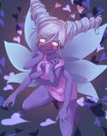 1girl @_@ alternate_form butterfly_wings disney drill_hair drooling extra_arms eyelashes glowing glowing_eyes hairband heart heart-shaped_pupils highres lavender_hair looking_at_viewer multiple_wings open_mouth pimgier pink_eyes purple_skin saliva smile solo star_butterfly star_butterfly_(mewberty) star_vs_the_forces_of_evil symbol-shaped_pupils twin_drills wings yandere_trance