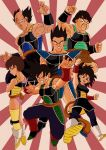 bald bardock black_eyes black_hair boots brown_eyes brown_hair clenched_hands crossed_arms dragon_ball dragon_ball_z dragonball_z earrings facial_hair fighting_stance floating gine grin highres jewelry leotard messy_hair monkey_tail muscle mustache open_mouth panbukin_(dragon_ball) scar scar_on_cheek seripa short_hair skirt smile tail toma_(dragon_ball) tondamanuke toteppo white_boots wristband