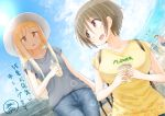 2girls bag beach blonde_hair blue_sky brown_eyes brown_hair bubble_tea collarbone denim fisheye hat holding holding_bag holding_drink jeans lens_flare mole mole_on_neck mole_under_eye multiple_girls original outdoors pants ringoanu short_hair sky sweat tote_bag yellow_eyes zanshomimai