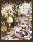 animal_ears antlers apron aqua_eyes bird boots braid brown_eyes brown_hair chibi_(shimon) cover cross-laced_footwear flower forest fur_trim green_hair highres inkwell long_hair meadow mittens monocle nature short_hair sitting snow standing summer twin_braids wind winter