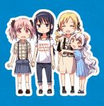 4girls :d akemi_homura black_hair blonde_hair blue_background blue_dress blue_skirt blush_stickers brown_footwear capri_pants closed_eyes clothes_writing collarbone dress dress_shirt drill_hair eyebrows_visible_through_hair frilled_skirt frills full_body hair_ribbon hairband hand_on_another's_head hands_together holding_hands hug kaname_madoka long_hair looking_at_viewer low_ponytail mahou_shoujo_madoka_magica momoe_nagisa multiple_girls off-shoulder_shirt off_shoulder open_mouth orange_eyes outline pants pink_eyes pink_hair plaid plaid_shirt purple_hairband ribbon ryuunosuke_(luckyneco) shirt short_hair short_sleeves skirt smile standing suspender_skirt suspenders t-shirt tomoe_mami twin_drills twintails two_side_up very_long_hair violet_eyes white_hair white_outline white_shirt |d