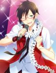 1boy ;) black_hair black_necktie blush bracelet clenched_hand earrings green_eyes idol idolmaster idolmaster_side-m iseya_shiki jewelry male_focus microphone necktie nesuop_(sm_nesuop) one_eye_closed pink-framed_eyewear ring smile solo sparkle