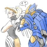 2girls anger_vein begging blonde_hair blush bodysuit closed_eyes cowboy_shot crossed_arms facing_away high_ponytail looking_at_another mechanical_halo mechanical_wings mercy_(overwatch) multiple_girls overwatch pharah_(overwatch) power_armor profile rejection simple_background sketch speech_bubble tuskine_kinase white_background wings