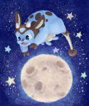 alternate_color blue_eyes commentary drawfag full_moon highres jumping miltank moon night night_sky open_mouth pokemon pokemon_(creature) shiny_pokemon sky star_(sky)