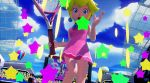 1girl 3d animated audience blonde_hair mario_tennis mario_tennis:_ultra_smash nintendo princess_peach super_mario_bros.