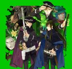1girl 6+boys dagda danu dark_skin devil_summoner fedora flynn_(smt4) ghost gouto green_border green_eyes grey_eyes hair_down hand_on_hip hat highres krishna_(shin_megami_tensei_iv_final) kuzunoha_raidou kuzunoha_raidou_(cosplay) long_hair multiple_boys nanashi_(shin_megami_tensei_iv_final) navarre peaked_cap shin_megami_tensei shin_megami_tensei_iv shin_megami_tensei_iv_final sword uniform violet_eyes weapon white-light