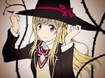 1girl blonde_hair hair_ornament hat highres long_hair shiraishi_urara solo ume-chan_(artist) violet_eyes witch_hat x_hair_ornament yamada-kun_to_7-nin_no_majo