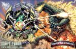 battle claws crossover destruction dinosaur dragon_caesar drill epic explosion fangs fighting fire giant_monster glowing godzilla godzilla_(series) horn kaiju_samurai kaijuu kyouryuu_sentai_zyuranger machine mecha missiles monster mutant no_humans open_mouth outdoors power_rangers red_eyes robot science_fiction sentai sharp_teeth spikes super_sentai tail teeth weapon