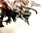 bushido57 claws dragon highres jaw monochrome monster monster_hunter no_humans open_mouth rathalos rathian running scales simple_background spikes tongue traditional_media wings