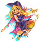 1girl artist_request bare_shoulders blonde_hair boots dark_magician_girl duel_monster female gloves hat legs long_hair looking_at_viewer magical_girl skirt solo wink wizard_hat yu-gi-oh!