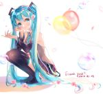 1girl 39 aqua_eyes aqua_hair aqua_neckwear balloon bare_shoulders black_legwear black_skirt black_sleeves blurry blurry_background boots cherry_blossoms commentary dated detached_sleeves falling_petals flower from_side full_body glowing_petals grey_shirt hair_ornament hand_on_own_face hatsune_miku highres long_hair looking_to_the_side necktie outstretched_hand petals shirt skirt sleeveless sleeveless_shirt solo squatting thank_you thigh-highs thigh_boots totomachokori twintails very_long_hair vocaloid white_background