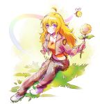 1girl ahoge amputee bee blonde_hair curly_hair flower grass iesupa long_hair rwby smile solo spoilers sunflower violet_eyes yang_xiao_long