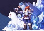 1girl absurdres alolan_vulpix articuno bangs beads bear belt belt_pouch bird black-framed_eyewear blue_eyes blue_legwear blush boots brown_eyes brown_hair canteen chestnut_mouth coat creature crossover crystal cubchoo dewgong diamond_(shape) drone energy_gun eyebrows eyebrows_visible_through_hair fang finger_on_trigger fox full_body fur-lined_boots fur-lined_jacket fur_boots fur_coat fur_trim glaceon glasses gloves gun hair_bun hair_ornament hair_stick hand_on_own_face hand_up highres holding holding_gun holding_weapon horn ice legendary_pokemon machinery mei_(overwatch) overwatch parka pinky_out pokemon pokemon_(creature) polar_bear ray_gun robot seal shoes short_hair siam_(meow13) sidelocks snot snowball_(overwatch) solo spiked_shoes spikes standing tail thick_thighs thighs vulpix weapon winter_clothes winter_coat