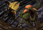 absurdres ambiguous_gender ape armor beetle blonde_hair brave_(armor) bug claws daji_yaozi dark_clouds deviljho flying from_behind full_armor fur glowing glowing_eyes highres holding holding_weapon horns insect_glaive jaw jumping long_hair monkey monster monster_hunter monster_hunter_4 open_mouth polearm rajang red_eyes sharp_teeth tail teeth tyrannosaurus_rex walking weapon wyvern
