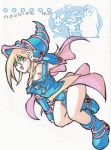 1girl bare_shoulders blonde_hair boots breasts character_request dark_magician_girl duel_monster female gloves green_eyes hat long_hair looking_at_viewer magical_girl skirt smile solo traditional_media wizard_hat yu-gi-oh!