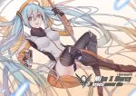 1girl absurdly_long_hair absurdres aiming_at_viewer aqua_eyes aqua_hair black_boots black_legwear black_panties boots breasts brown_background copyright_name cosplay crossover dutch_angle emblem floating_hair gloves gradient gradient_background gun handgun hatsune_miku highres holding holding_gun holding_staff holding_weapon knee_boots legs_crossed long_hair looking_at_viewer mechanical_halo mechanical_wings medium_breasts mercy_(overwatch) mercy_(overwatch)_(cosplay) open_mouth overwatch panties pantyshot pistol smile solo sora_(zwz030) staff thigh-highs twintails underwear very_long_hair vocaloid weapon wings