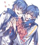 2boys ;) blue_eyes blue_hair blue_nails blush eyebrows eyebrows_visible_through_hair flower hand_holding kaito kaito_(vocaloid3) looking_to_the_side male_focus multiple_boys nail_polish one_eye_closed simple_background smile vocaloid white_background witchonly