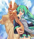 aqua_hair back-to-back back_to_back blonde_hair breasts detached_sleeves eeeeee eye_beam glowing glowing_eyes grin hand_holding hands hatsune_miku holding_hands large_breasts lion_(macross_frontier) long_hair macross macross_frontier necktie parody skirt smile smoke sweet_ann twintails vocaloid