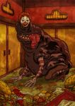 door empty_eyes food french_fries ghibli hamburger kaonashi mcdonald's mcdonald's mcdonalds ronald_mcdonald sen_to_chihiro_no_kamikakushi striped teeth tongue tray