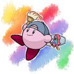 baseball_cap bucket hari_(kureon) hat kirby kirby_(series) no_humans paint paintbrush rainbow rainbow_background smile trim_brush