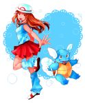 1girl blue_(pokemon) boots brown_eyes brown_hair dada_(dolce) hat heart long_hair loose_socks pleated_skirt pokemon pokemon_(creature) pokemon_(game) pokemon_frlg porkpie_hat skirt smile socks wartortle