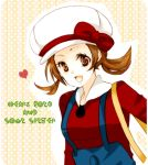 bad_id brown_eyes brown_hair cabbie_hat hat hat_ribbon heart kotone_(pokemon) lowres maccha_shuu overalls pokemon pokemon_(game) pokemon_gsc pokemon_heartgold_and_soulsilver red_ribbon ribbon short_twintails smile solo title_drop twintails unown unownglyphics