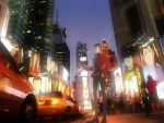 bad_id car cigarette city cityscape formal highres lupin_iii male motor_vehicle necktie scenery sideburns smoke suit times_square vehicle wallpaper zz
