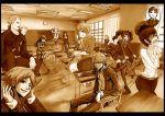 adachi_tohru amagi_yukiko blush cabbage classroom crossed_arms eating embarrassed food gami gami_(n09) hanamura_yousuke igor kubo_mitsuo kujikawa_rise kuma_(persona_4) laughing margaret meat monochrome narukami_yuu not_present pantyhose persona persona_4 satonaka_chie school_uniform sepia seta_souji shirogane_naoto sitting skewer tatsumi_kanji unmoving_pattern windowboxed wink