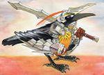 bird crow helmet pixiv_fantasia pixiv_fantasia_1 sword weapon yabu_houki_gomi yaburebouki_akuta