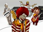 "afro amplifier bass_guitar burger_king clown colonel_sanders creepy crown don't_say_lazy don't_say_""lazy"" drum drum_set eroke glasses guitar head_tilt instrument k-on! keyboard keytar kfc kfc_(company) mcdonald's mcdonald's mcdonalds microphone microphone_stand parody peko-chan ronald_mcdonald satire speaker striped the_king tongue"