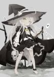 1girl absurdres ace_of_spades ahoge animal_ear_fluff animal_ears bandaged_leg bandages bangs barefoot black_cape black_headwear black_skirt black_vest blush cape card closed_mouth commentary_request diamond_(shape) ears_through_headwear eyebrows_visible_through_hair fang fang_out frilled_skirt frills green_eyes grey_background grey_hair hair_between_eyes hat highres hood hood_down hooded_cape katana long_hair long_sleeves original playing_card pleated_skirt puffy_long_sleeves puffy_sleeves ready_to_draw shirt skirt skull sleeves_past_wrists solo spade_(shape) standing sword utatanecocoa very_long_hair vest weapon white_shirt witch_hat
