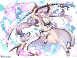 1girl arms_up bikini bikini_bottom bikini_top blue_eyes breasts butterfly_ornament cleavage commentary_request doraf double_bun earrings fire flame granblue_fantasy hair_over_one_eye hair_tie horns huge_weapon jewelry large_breasts long_hair narumeia_(granblue_fantasy) open_mouth oversized_object pink_hair pointy_ears sandals sarong seahorse seashell shell side-tie_bikini smile solo star star_earrings swimsuit thigh_strap tomoyohi twintails weapon white_bikini