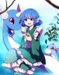 1girl :d blue_eyes blue_hair blurry cellphone commentary_request crossover depth_of_field dragonair dratini drill_hair fish_tail head_fins horn japanese_clothes kimono long_sleeves mermaid monster_girl obi open_mouth orb phone pokemon pokemon_(creature) sash short_hair smartphone smile touhou wakasagihime wide_sleeves you_(noanoamoemoe)